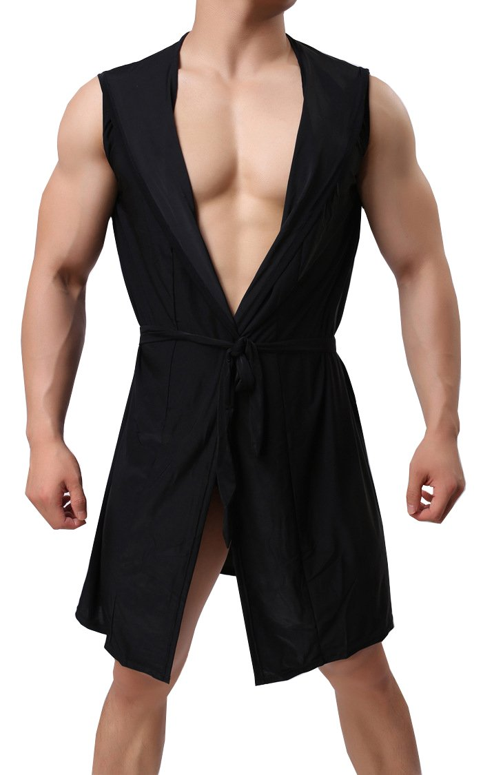 Hotmiss Men's Silk Kimono Bathrobe Hooded Nightgown Sleeveless Open Front Sleepwear Pajamas (Black, Large)