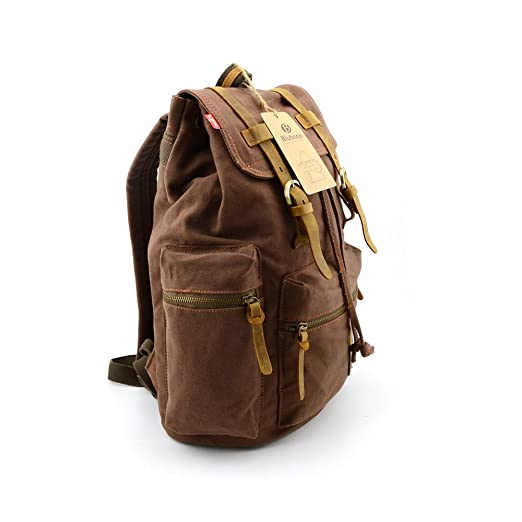 BLUBOON Vintage Men Casual Canvas Leather Backpack Rucksacks Schoolbag Satchel Hiking Bag Coffee 1pcs Amazoncouk Sports Outdoors