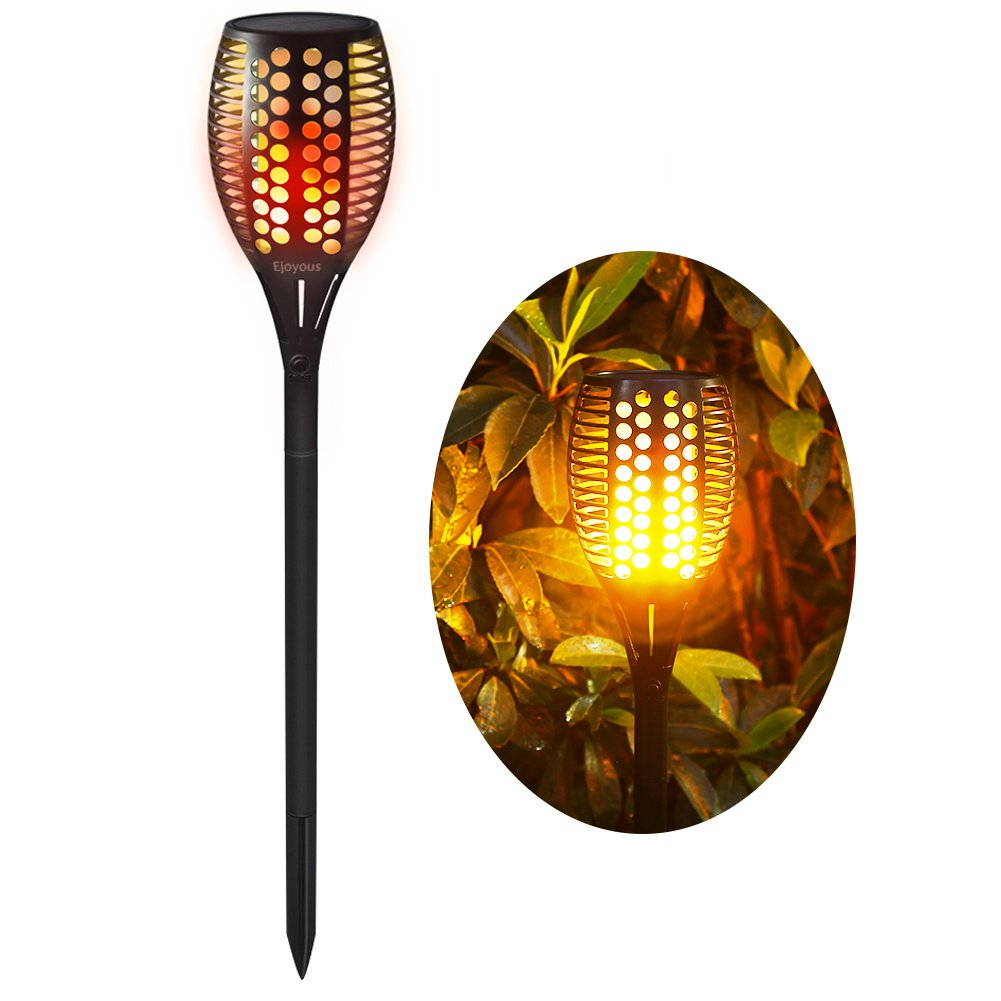 Solar Garden Lights, Ejoyous 96 LED Solar Powered Torch Light Pathway Lighting Dusk to Dawn Auto On/Off, IP65 Waterproof Flickering Flame Light (1 pack)
