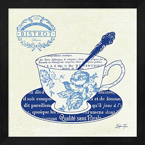 Blue Cups I by Stefania Ferri Fine Art Print with Wood Box Frame and Glass Cover, 13 x 13 inches