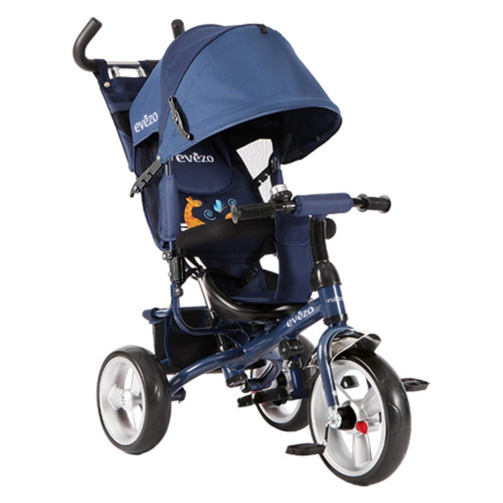 Evezo Stroll 'n Trike, 4-in-1 Convertible, Reclining Seat, Age 1 to 6, Model Turk, Blue by Evezo