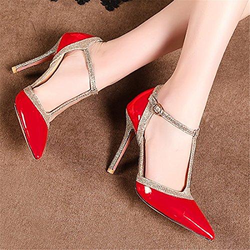 Astilleros Zapatos con Zapatos Verano de de Baotou Tacón La de Grandes Primavera Alto los y Tacón gules Sandalias el Mujer Zapatos Paquetes rxOwrqgH