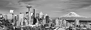 Seattle Skyline PHOTO PRINT UNFRAMED Dusk BW Black & White City Downtown 11.75 inches x 36 inches Rainier Photographic Panorama Poster Picture Standard Size