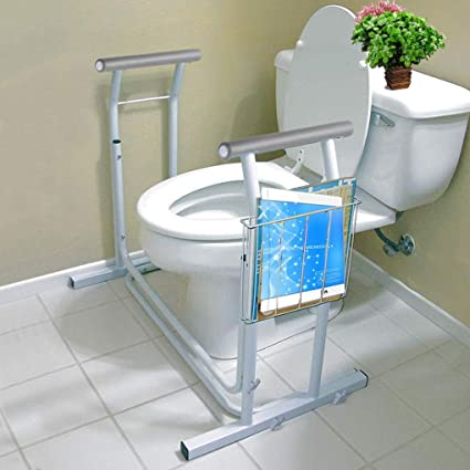 for Assist Elderly Disabled Seat Support Raised Toilet Seat with Arms Anti-Slip Removable Padded Handles Adjustable Height Toilet Safety Rail Frame
