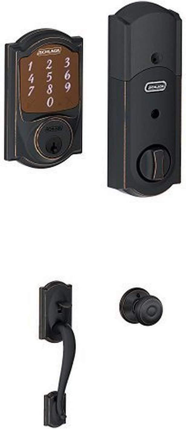 Schlage Sense Smart Deadbolt with Camelot Trim in Aged Bronze (BE479 CAM 716) + Handleset