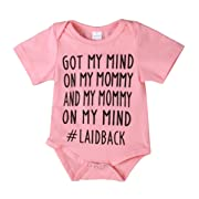 Newborn Baby GOT My Mind ON My Mommy Funny Bodysuits Rompers Outfits Blue(3-6M, Pink)