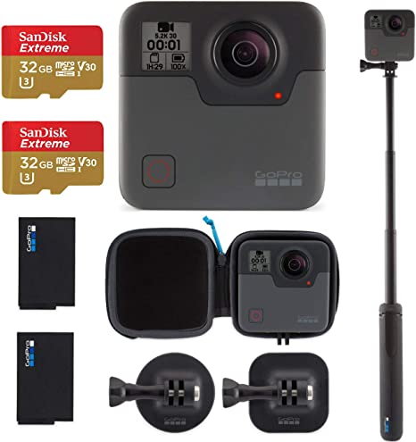 GoPro Fusion - 360 Waterproof Digital VR Camera with Spherical 5.2K HD Video 18MP Photos, Bundle Kit with Extra GoPro Rechargeable Battery + 2 Pack ...