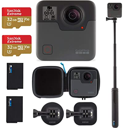 GoPro Fusion - 360 Waterproof Digital VR Camera with Spherical 5 2K HD  Video 18MP Photos, Bundle Kit with Extra GoPro Rechargeable Battery + 2  Pack