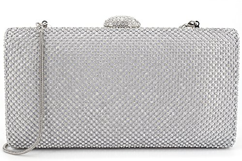 Dexmay Large Rhinestone Crystal Clutch Evening Bag Women Clutch Purse for Cocktail Prom Party Silver