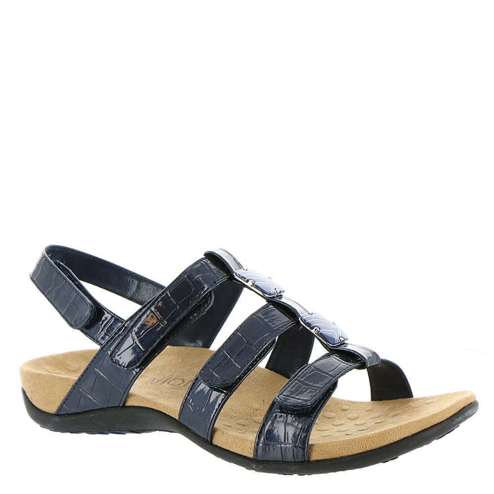 Vionic with Orthaheel Technology Womens Amber Adjustable Navy Croc Sandal - 5 M by Vionic