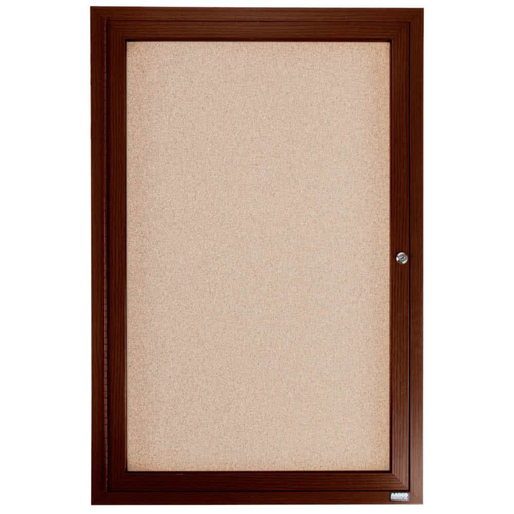 TableTop King WBC4836R 48'' x 36'' Enclosed Hinged Locking 1 Door Bulletin Board with Walnut Finish