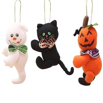 NUOBESTY Colgante Lindo de Halloween Calabaza Fantasma Gato Negro ...