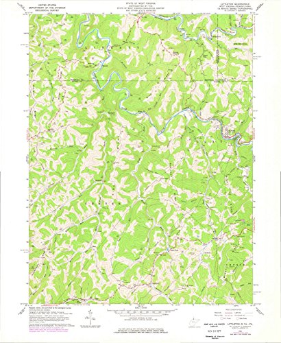Historical Reproductions Map (West Virginia Maps | 1960 Littleton, WV USGS Historical Topographic Map |Fine Art Cartography Reproduction Print)