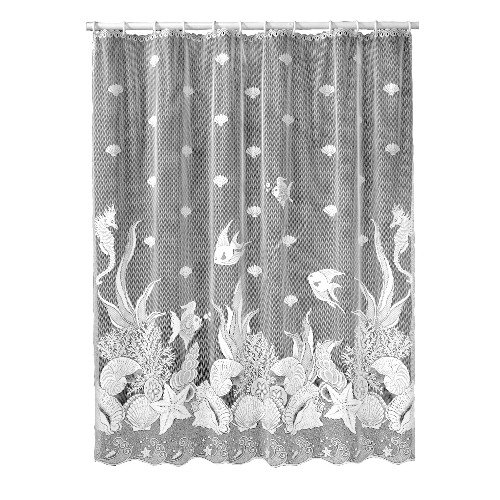 Lace Shower Curtain (Heritage Lace Seascape 72-Inch by 72-Inch Shower Curtain, White)