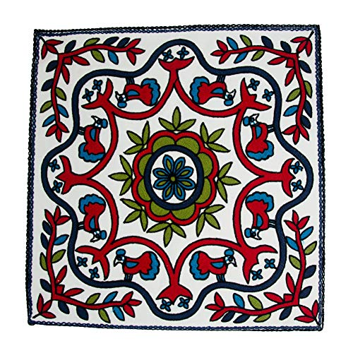 Cotton Embroidered Throw Pillow Cover | Square Pillows Cover Boho Designs Throw Pillow Cover 20x20 Inches Red Blue Green Vine