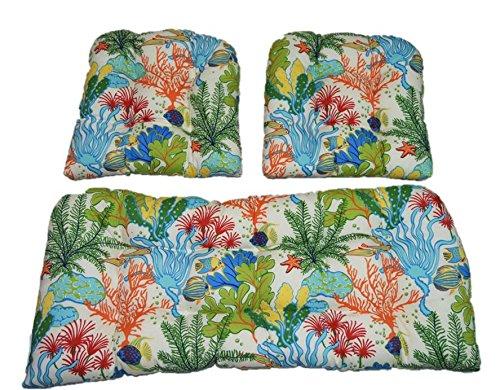 Resort Spa Home Decor 3 Piece Wicker Cushion Set - Splish Splash Ocean Coral Reef Tropical Fish Indoor/Outdoor Fabric Cushion for Wicker Loveseat Settee & 2 Matching Chair Cushions (Furniture Reef)