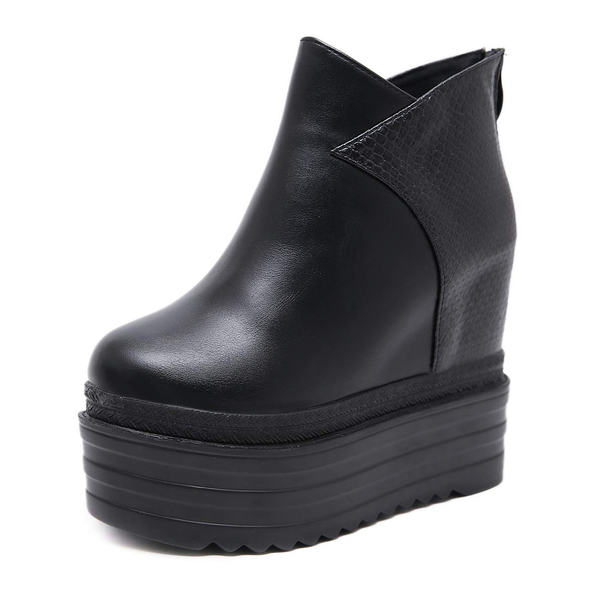 HBDLH Damenschuhe Mode Slope Ferse Mit Hohen 13Cm Kurze Stiefel Dicke Hintern Muffin Super - High - Heels Nachtclubs Erhöhte Stiefel.