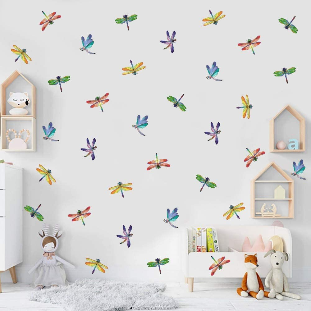 IARTTOP Watercolour Dragonfly Sticker, Colorful Dragonflies Wall Decal for Living Room Bedroom Nursery Decor, Animal Theme Window Clings Decoration