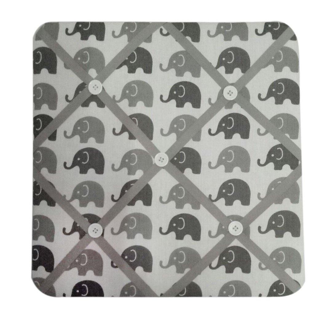 Bacati Elephants Unisex Fabric Memory/Memo Photo Bulletin Board, Grey by Bacati