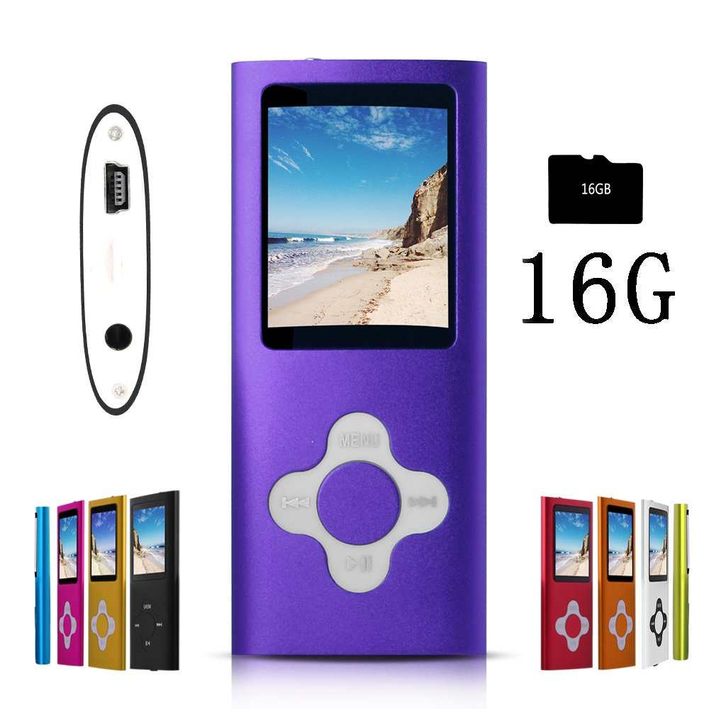 G.G.Martinsen Purple Versatile MP3/MP4 Player with a 16GB Micro SD Card, Support Photo Viewer, Radio and Voice Recorder, Mini USB Port 1.8 LCD, Digital MP3 Player, MP4 Player, Video/Media/Music Player