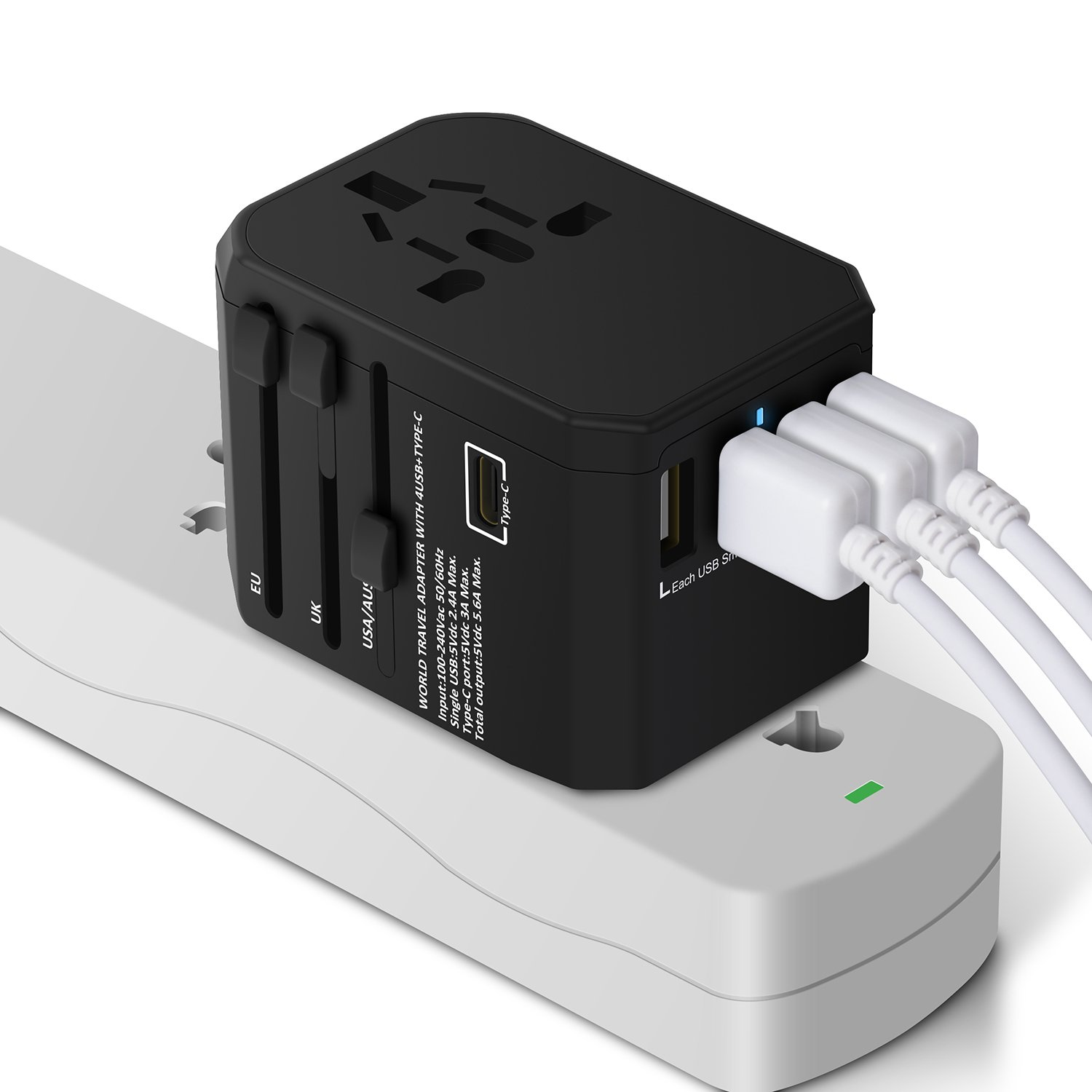 International Travel Adapter Charger, All in One Travel Power Adapter Power Plug Converter with 4 USB Charging Ports and 1 Type C Adapter for USA EU UK AUS Cell Phone Tablet Laptop (Black) (Black)