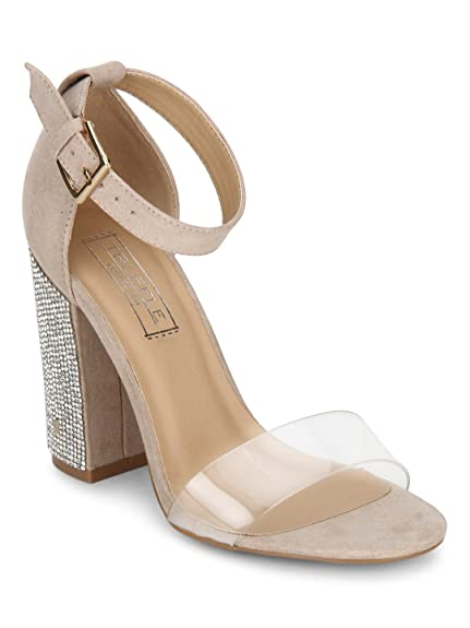 fa3647232859 TRUFFLE COLLECTION Nude Patent PU Perspex Diamante Block Heels  Buy Online  at Low Prices in India - Amazon.in