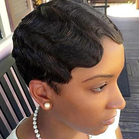 Real pelo peluca pelo negro de Brasil corta Human Hair Wig Natural Wave Gel ockt