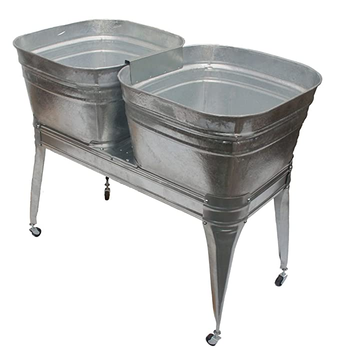 Twin wash tub with stand and drain