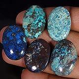 Radheygovind gems 121.70Cts100% Natural Wholesale LOT Blue Azurite 5Pcs Cab Fine Quality Gemstones