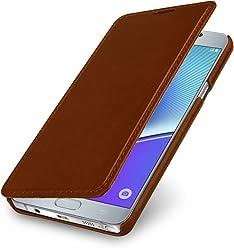 StilGut Housse pour Samsung Galaxy Note 5 en Cuir véritable et à Ouverture latérale, Cognac
