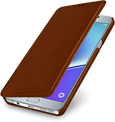 StilGut Book Type Case Senza Clip, Custodia in Vera Pelle per Samsung Galaxy Note 5, Cognac