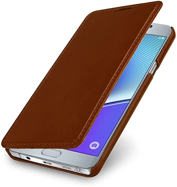 designer fashion a4447 1526a StilGut Book Type, Genuine Leather Case, Cover for Samsung Galaxy Note 5,  Cognac Brown
