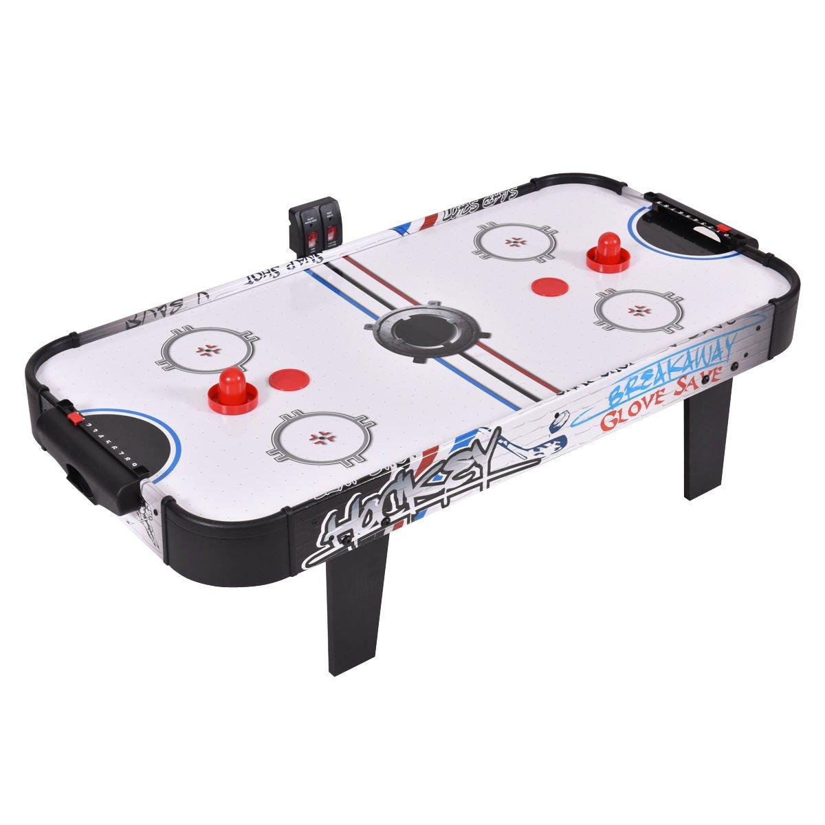 Goplus 42'' Air Powered Hockey Table Game Room Indoor Sport Electronic Scoring 2 Pushers