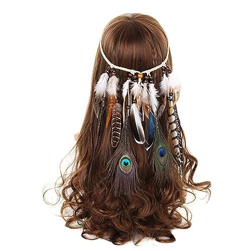 FANHOM Pavo real Pluma Venda indio Hippie Banda para el cabello Tocado Tribal Accesorios para el cab...