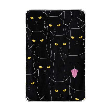Mnsruu - Manta de Cama Grande, diseño de Gatos Negros, Manta de poliéster Suave