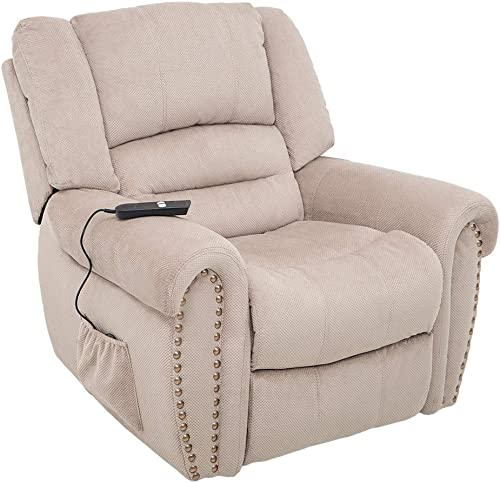 Romatlink Heavy Duty and Safety Motion Reclining Mechanism Electric Power Lift Recliner Chair for Elderly Heavy-Duty Power Lift Recliner Chair with Built-in Remote and 2 Castors Beige