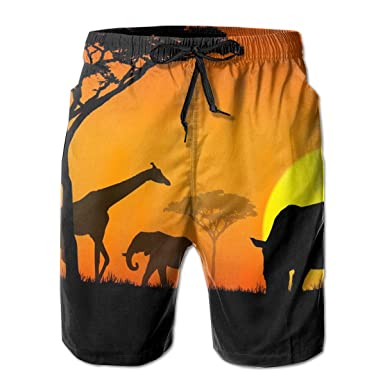3ed95e192a Amazon.com: NICOKEE Cool Swim Trunks for Men, Desert Africa Nature Park  Summer Summer Quick Dry Beach/Board Shorts: Clothing