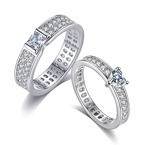 Majesto Conjunto de anillos de 2 matrimonio compromiso para mujer adolescente niña pequeña mamá - accesorio