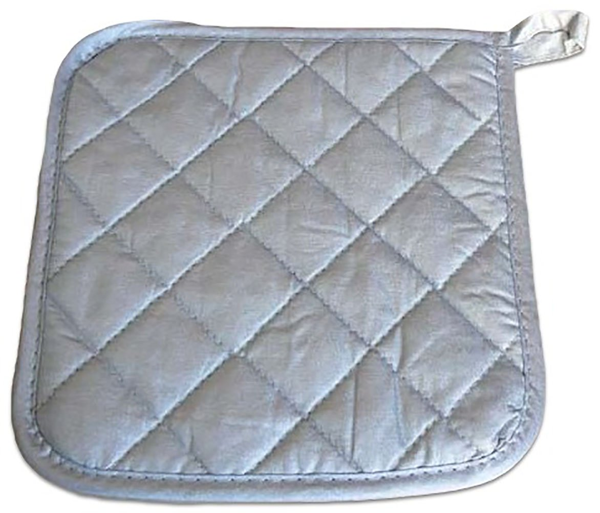 "Custom & Durable {8"" x 8"" Inch} 50 Bulk Pack, Mid Size ""Non-Slip"" Pot Holders Glove Made of Cotton for Carrying Hot Dishes w/ Shiny Quilted Flame Retardant Commercial Style [Silver] by mySimple Products"