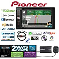Pioneer AVIC-5100NEX In Dash Double Din 6.2 DVD CD Navigation Receiver and a SiriusXM Satellite Radio Tuner, Antenna SXV300V1 with a FREE SOTS Air Freshener