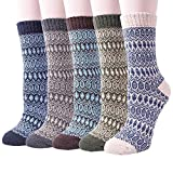 5 Pack Womens Thick Knit Warm Casual Wool Crew Winter Socks (Mix color 12)