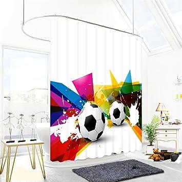 3D Dusche Vorhänge Visual Platz Fußball Digital Printing Polyester Stoffe  WASSERDICHT Und Mehltau Okklusion Sichtschutz Cut