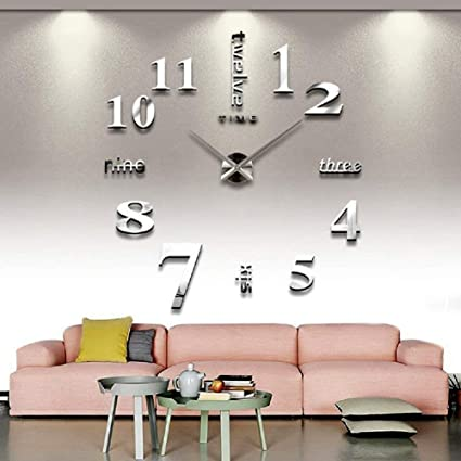 Amazon Com Cozroom Large Silver 3d Frameless Wall Clock Stickers
