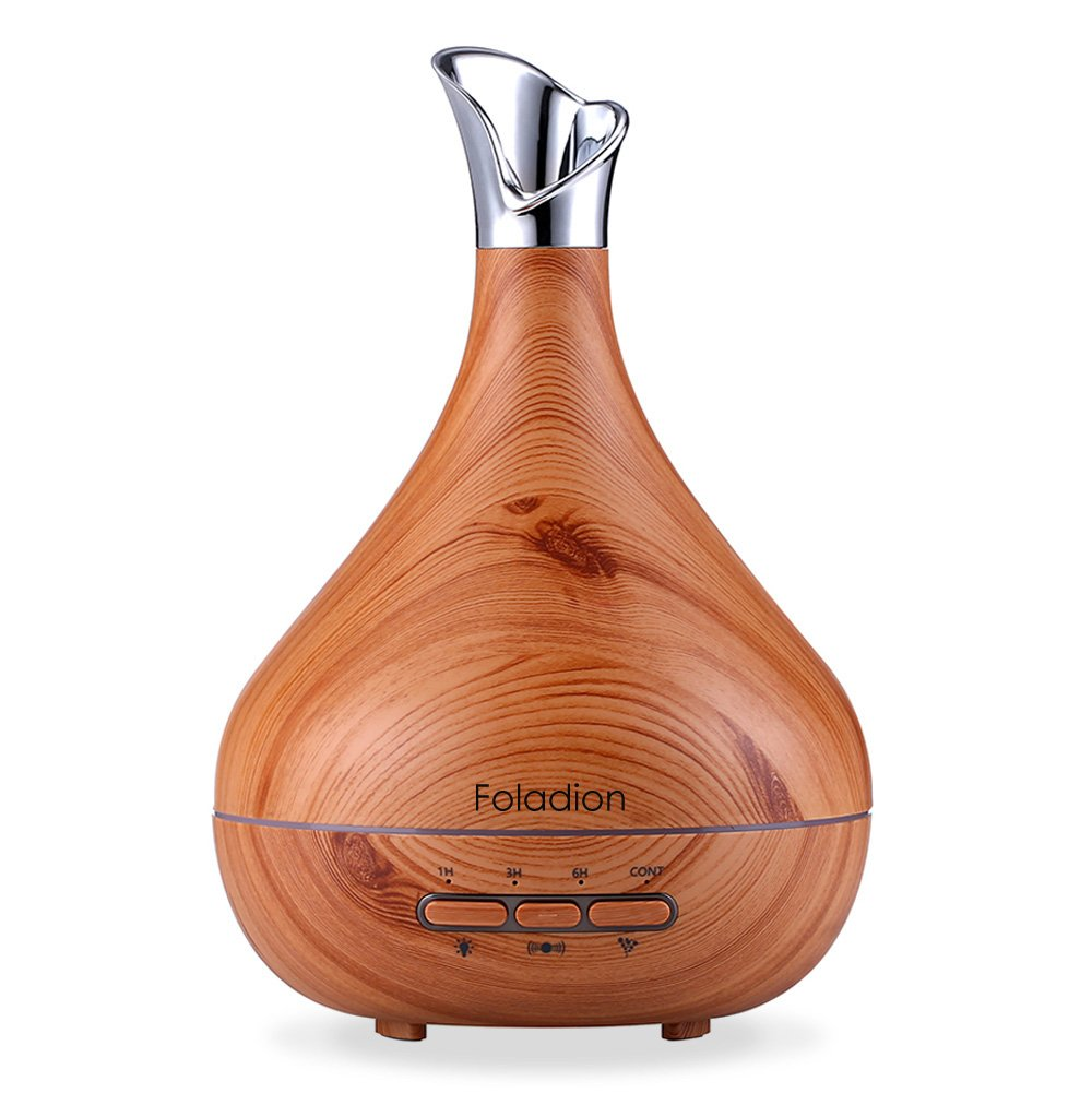 Foladion Smart Essential Oil Diffuser,300ml Cool Mist Humidifier,Body Induction Auto Control,15 Lighting Modes, Time Setting, BPA-Free Safe for Baby, Valentines Gift (Blue White Grain)