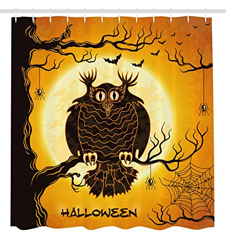 Halloween Decorations Shower Curtain by Ambesonne, Spooky Owl on Tree Branch with pider Webs and Bats Fear Theme Art, Fabric Bathroom Decor Set with Hooks, 70 Inches, Orange Black