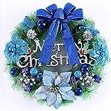 Happyear - Corona de Navidad Puerta Delantera Ventana, diseño navideño Bolas de Color Pino Decorado Motivos navideños, decoración Festiva Interiores Exteriores, Azul