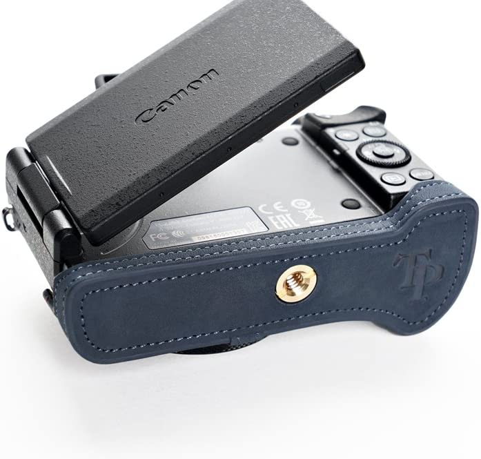 Handmade Genuine Real Leather Half Camera Case Bag Cover For CANON G5X Blue Color