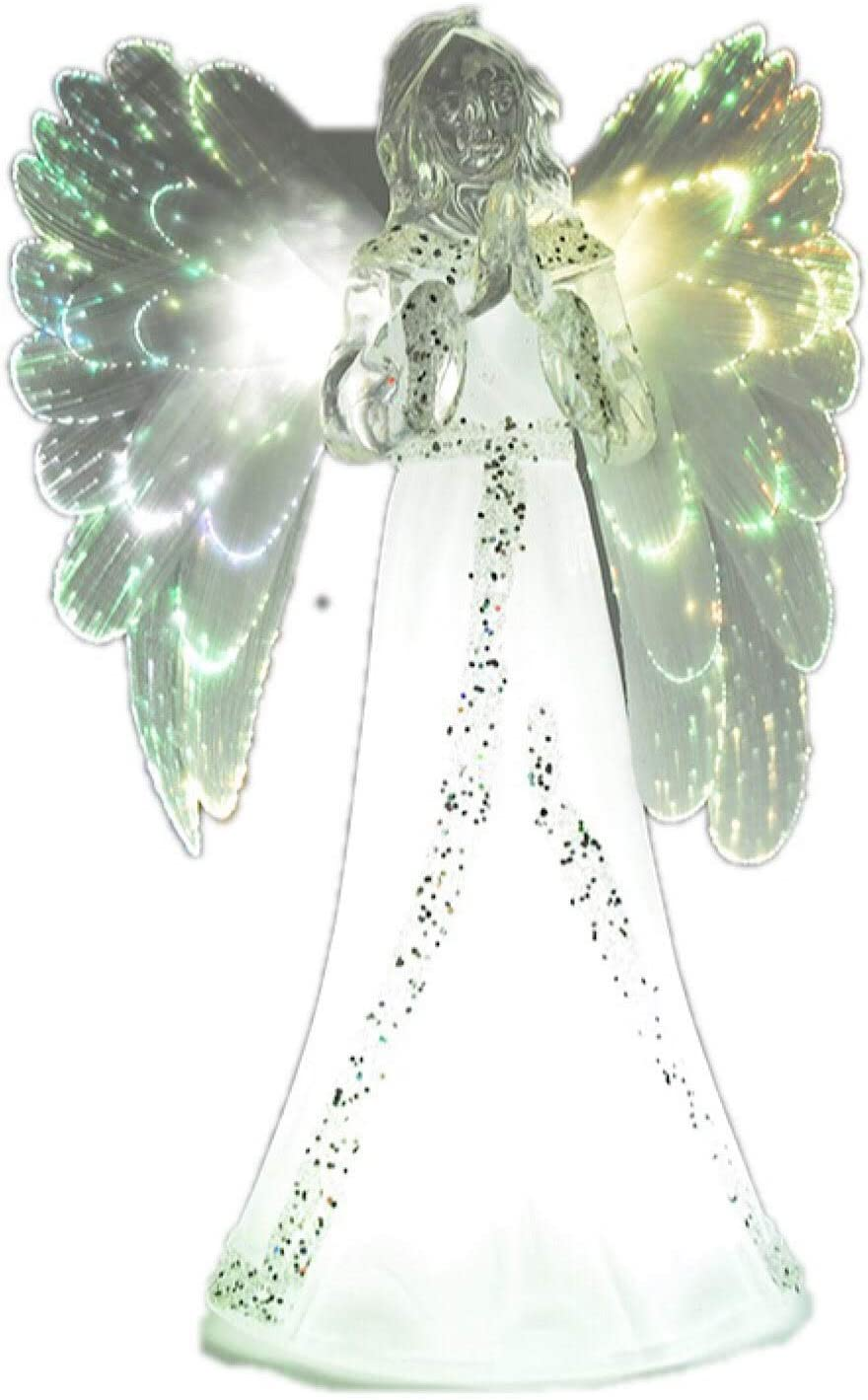 THE NIFTY NOOK Lighted Angel Figurine Frosted - LED Color Changing Praying Angel Statue with Large Color Changing LED Wings