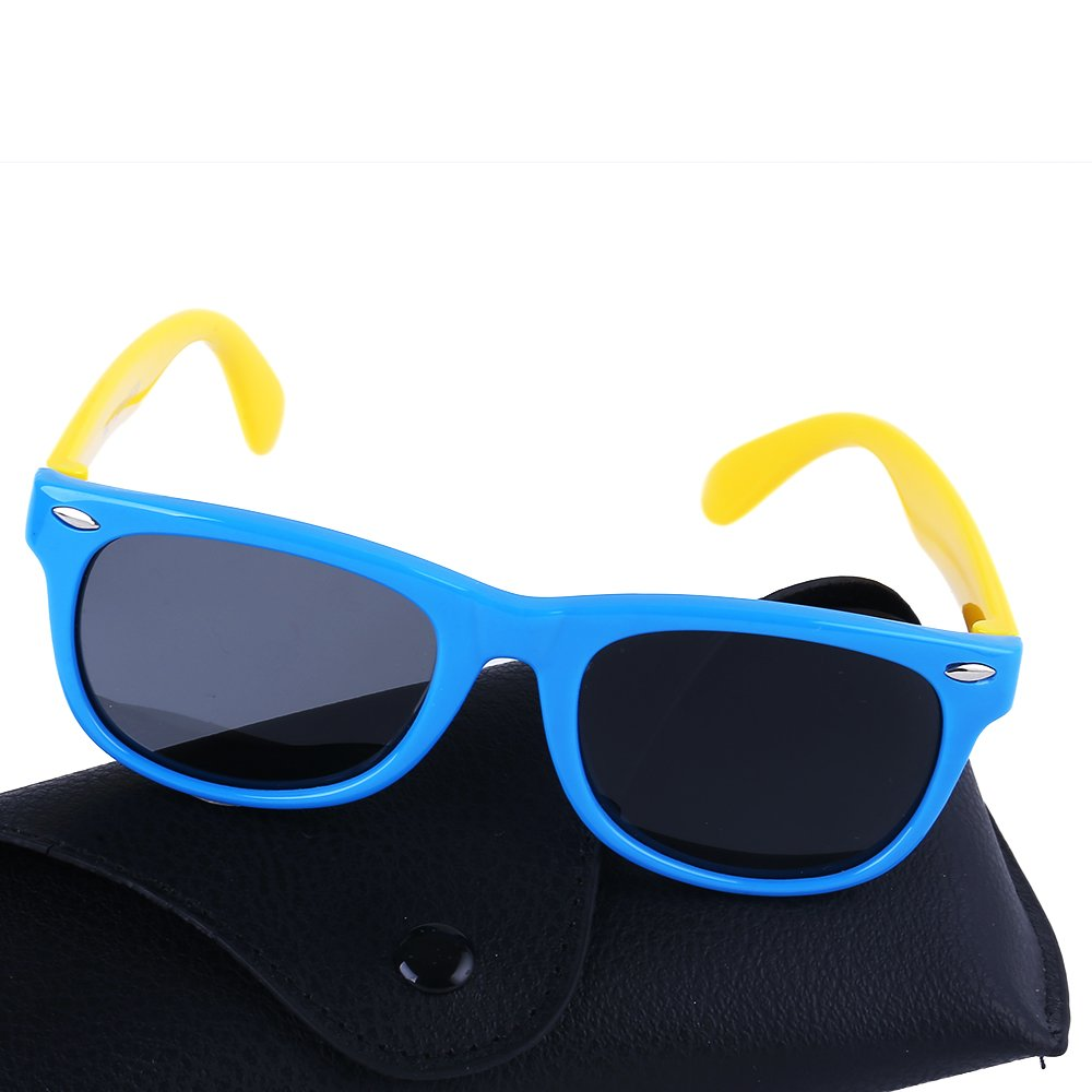 Kids Childrens Sunglasses Polarized Sports Wayfarer for Age 3-7 Years Old (Blue/Yellow)