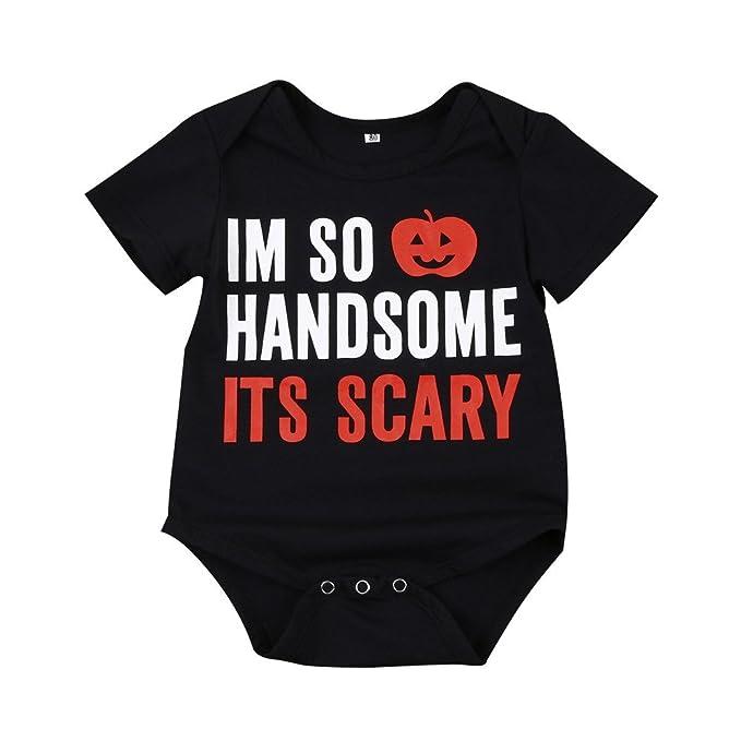 QUICKLYLY Bebé Chicos Chicas mi 1 DE Halloween Calabaza Largo Manga Peleles+ Leg Calentadores Traje Conjunto